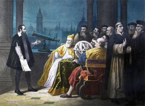 Galileo con el telescopio ante el Papa